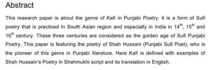 KAFI A GENRE OF SUFI PUNJABI POETRY